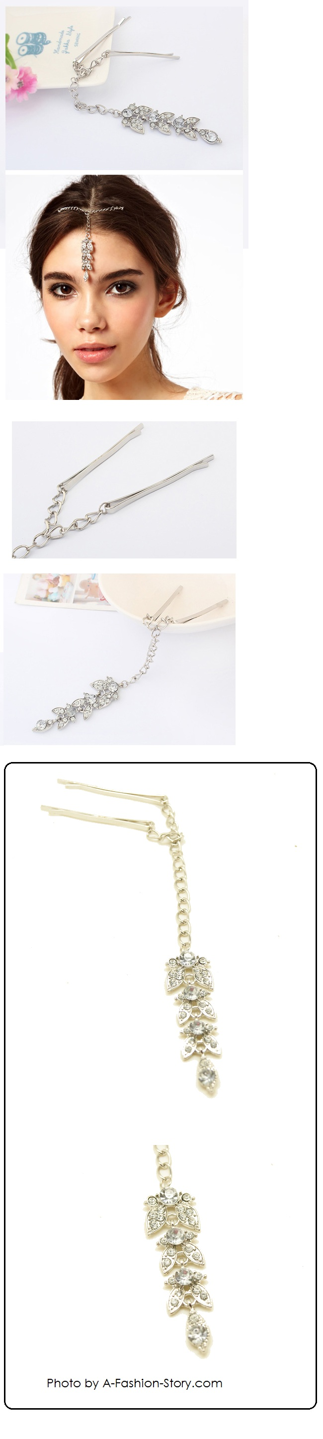P99630 Flower silver colour dangling charm hairpin