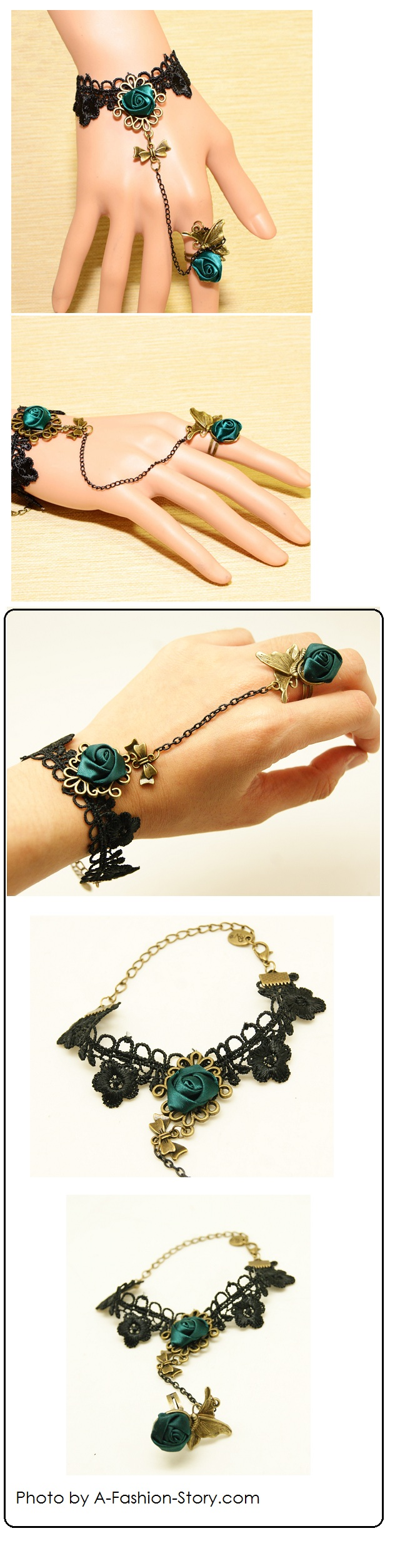 P99542 Rose Butterfly bracelet ring korean accessories aa