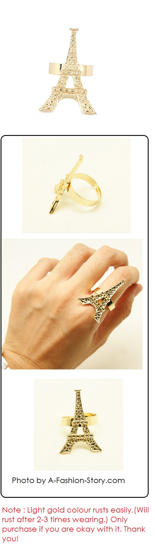 C08110459 Eiffel tower korean ring accessories wholesale brunei