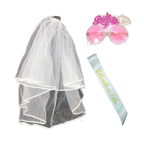 A-PP-LPP4318 Bride Set With Wedding Veil Sashes & Cute Glasses