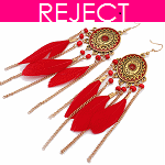 RD0077- Reject Design RD0077- Earrings Feather Red