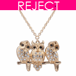 RD0098- Reject Design RD0098- Long Necklace 3 Cute Owls