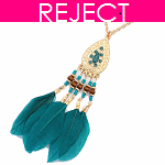 RD0112- Reject Design RD0112- Long Necklace Green Feather